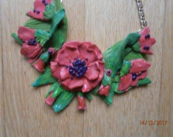 Pink ANEMONE in Polymer clay with buds. Small bib necklace.