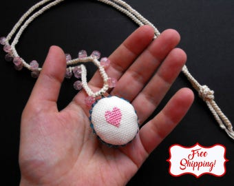 Woodland heart cross stitch necklace valentines day pendant small heart jewelry pink heart necklace red heart necklace cross stitch jewelry