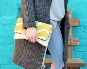 Fold Over Clutch Yellow zigzag / beige Genuine Leather, Zipper Clutch, gift for her,- day- evening