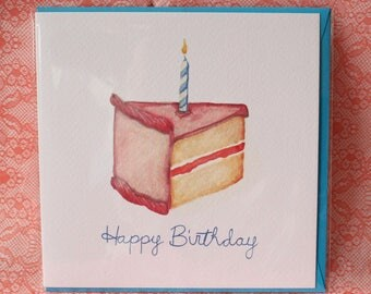 Pink Cake Slice Birthday Card
