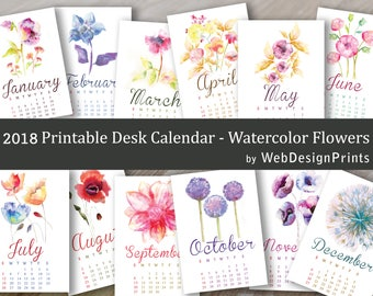 2018 Calendar - WebDesignPrints - Watercolor Flowers