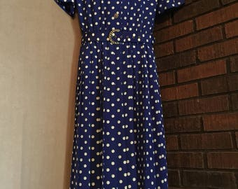 Vintage retro 80's dress sz 14 Leslie Fay Designs blue polka dot gold buttons pleated skirt removable matching belt