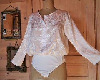 White way Bodysuit blouse 90s s evening cocktail ceremony