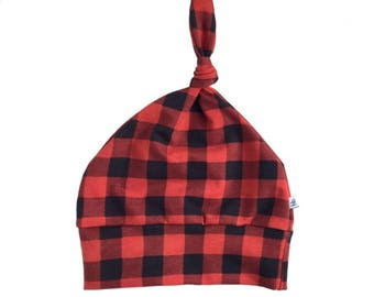 buffalo plaid  hat, plaid hat, red hat, infant hat, baby beanie, knit hat, toddler hat