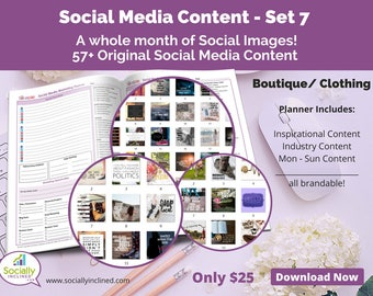 Social Media Images - Content for Clothing / Boutique (SET 7) -- 57+ original images with blank planner pages, checklists, tasks, and goals