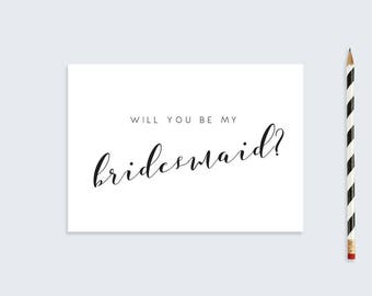 Printable Bridesmaid Card  |  Will you be my bridesmaid Card  |  A6 Calligraphy Wedding Card