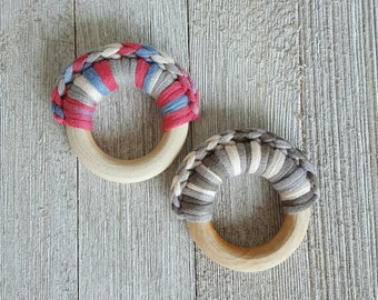 Baby Teething Ring - Crochet Teething Toy - Natural Wood Toy - Crochet Toy - Boy or Girl - Gift Idea
