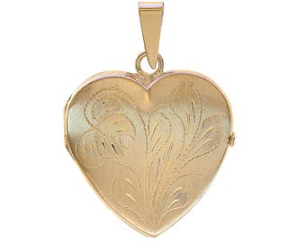 14k Yellow Gold Floral Engraved Heart Made In Italy Locket Pendant