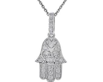0.25 Carat Round Diamond Hamsa Hand of God Pendant Necklace 14K White Gold