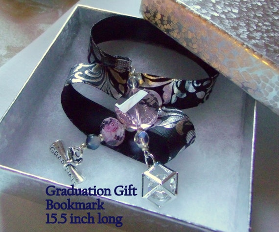 Graduation gift - scroll charm bookmark - pink beaded page marker - Gift for Grads - silver Ribbon - Girly gifts - end of school - Graduate