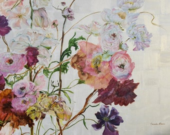 """Original hand painted oil painting - Flowers Show- made by Sarmite Alksne size 32""""x40"""""""