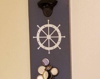 Ships wheel magnetic bottle opener/ customization available