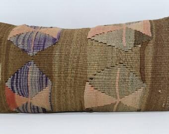 Turkish Kilim Pillow Throw Pillow Naturel Kilim Pillow 12x24 Decorative Kilim Pillow Ethnic Pillow Boho Pillow Cushion Cover SP3060-838
