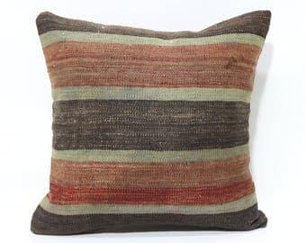 16x16 Turkish Kilim Pillow Sofa Pillow Home Decor 16x16 Naturel Kilim Pillow Handwoven Kilim Pillow Striped Kilim Pillow SP4040-2578