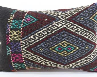 Embroidered Kilim Pillow Sofa Pillow Throw Pillow 16x24 Lumbar Kilim Pillow Floor Pillow Ethnic Pillow Cushion Cover  SP4060-584