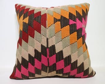 Geometric Designs Kilim Pillow 24x24 Large Floor Cushion Cover Bohemian Kilim Pillow Decorative Pillow Rustic Pillow Boho SP6060-1417