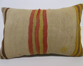16x24 Striped Kilim Pillow Anatolian Kilim Pillow Floor Pillow Floor Kilim Pillow Handwoven Kilim Pillow Cushion Cover SP4060-891