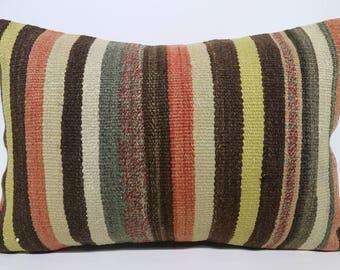 Anatolian Kilim Pillow Sofa Pillow 16x24 Lumbar Kilim Pillow Multicolor Kilim Pillow Home Decor Ethnic Pillow Cushion Cover  SP4060-1023