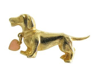 Gold Tone Figural Dachshund Dog with Heart Tag Brooch Pin