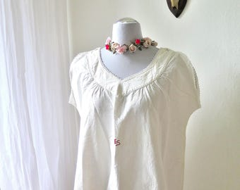 Linen Nightgown Monogram ES - Chemise  - Country Style - Bohemian Style