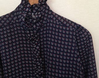 1980s navy, white and red mini print ruffle collar/front blouse by JENNIFER, size 3