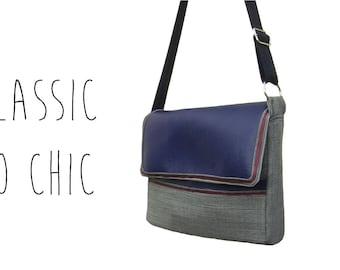 Blue wool Houndstooth and stripe Satin Burgundy shoulder bag handbag