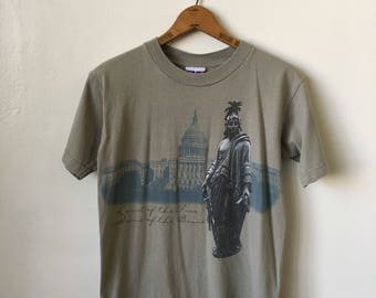 "Vintage USA ""Land of the Free Home of the Brave"" 1990's Washington D.C. 90's Lady Liberty White House T Shirt"