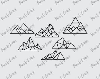 Geometric Mountains svg, png, eps, dxf files, cut files, digital downloads
