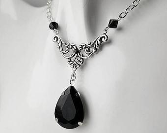 Gothic Black Annie Crystal Drop Necklace