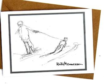Folding card, art print, dog-walking, pencil sketch dog, card with envelope, gift, dog-lover, illustration dogs, birthday father,