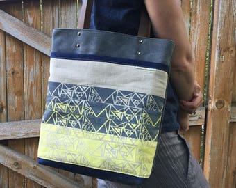 Waxed Canvas Tote with Block Print detail