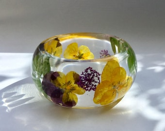 Pansy bangle,real flower bangle,viola bangle,