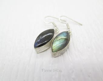 Marquise Labradorite Sterling Silver Earrings