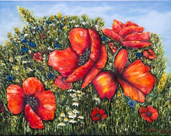 Wildflowers and red poppies painting 'Summer', original floral oil painting, canvas 60x80cm, palette knife