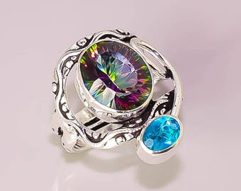E1 Rainbow Blue Topaz Beautiful Handmade Design .925 Sterling Silver Plated Jewelry Rings