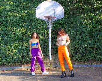 Vintage 1960's Bright Orange  High Waisted Cropped Slacks Pants