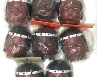 Vintage Lot of 8 New Old Stock Rubber Doll Faces