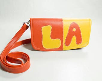 Los Angeles Embroidered Faux Leather Purse Bright Orange and Yellow Color Block Handmade Handbag Small Vegan Crossbody Bag LA Patchwork