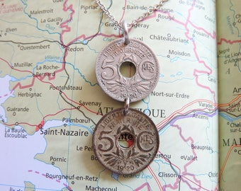 France 1920 duo coin necklace - original 5 Centimes - birth year - Paris - wedding present - 97th birthday