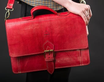 """Red Leather Satchel Laptop Bag with Strap """"The Casablanca"""" Handmade Moroccan"""