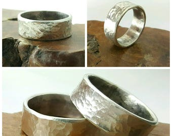 Custom Hand-Forged Sterling Silver Hammer Textured Personalized Ring