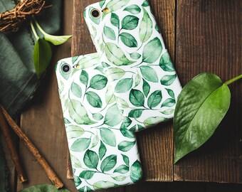 iPhone 6 Plus Case iPhone 6s Plus Case iPhone Case 6 Plus -  Watercolor Leaves - iPhone Case Floral Vintage - Soft Case Ultra slim - Matte