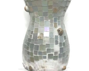 Pretty Flower Vase decorated with Mosaic and Sea Shells Beach House Decor
