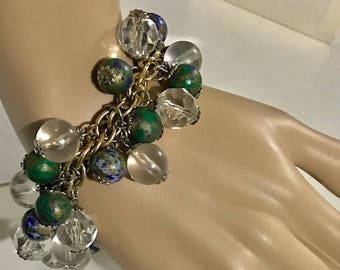 Vintage Beaded Bracelet Metal Gold Chain with Blue, Green and Clear Beads