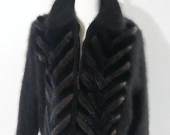 Vintage Women's Fur Jacket, Angora and Mink Brown Jacket, Trim with Mink Fur, Zippered Jacket, Size XL by Venesha
