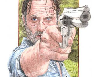 Rick Grimes (Boxed Background) Art Print
