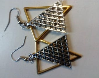 Gold and silver triangle earring