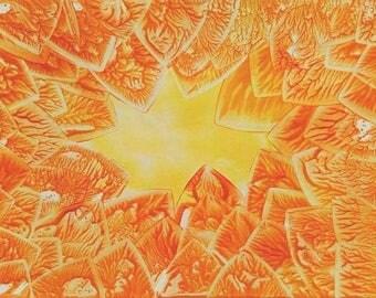 Abstract Encaustic Colourful Orange Art Print