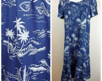Vintage Royal Blue and White Hawaiian Islands Muu Muu