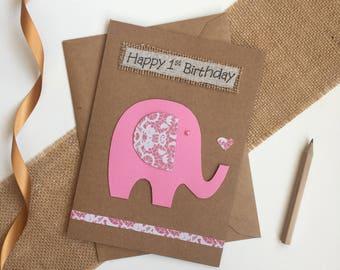 Babys 1st bithday card, baby girl card, 1st birthday card, handmade card, elephant card, card for 1st birthday